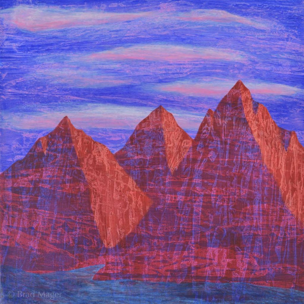 Three pyramid-shaped mountains with crackly horizontal striations stand by a blue lake