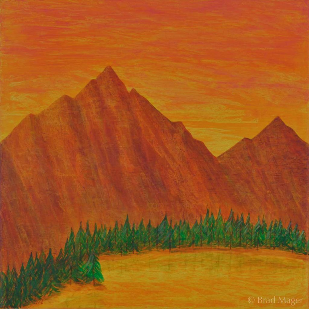 Yellow molten lake surrounded by evergreens, before reddish mountains and a fierce orange sky