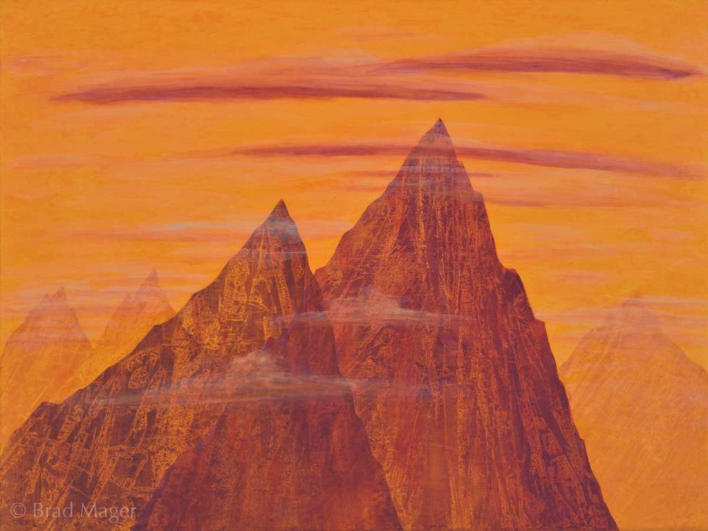 Two red mountain peaks stand together, leaning forward in readiness