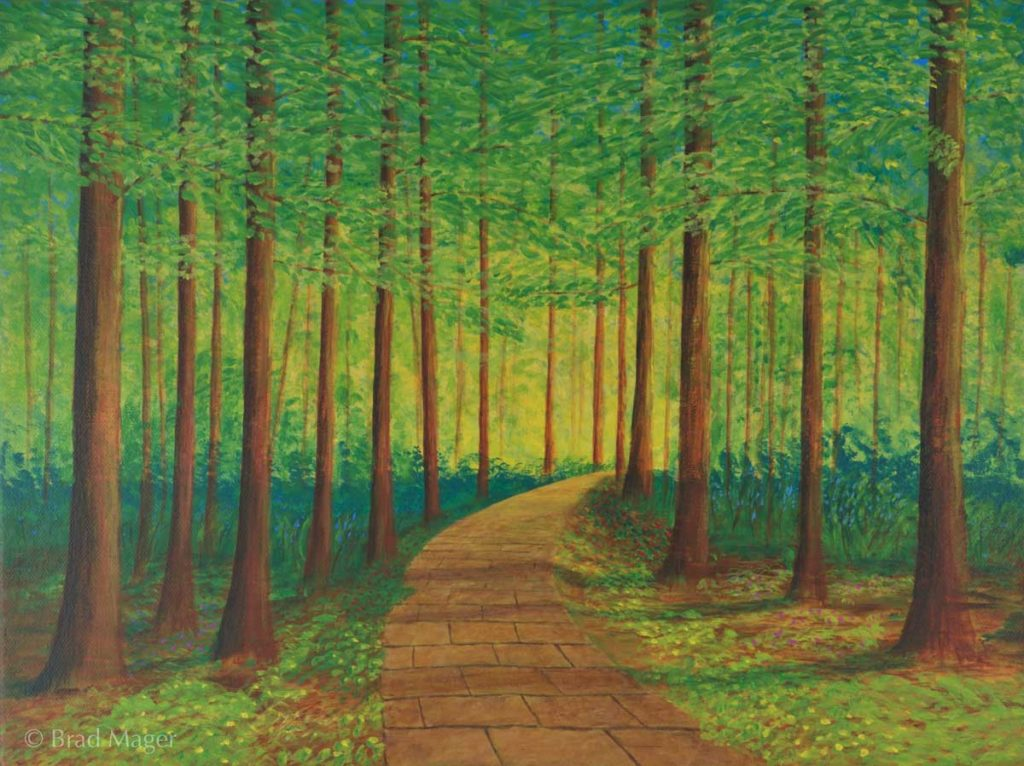 A cobblestone path leads through a dense green forest