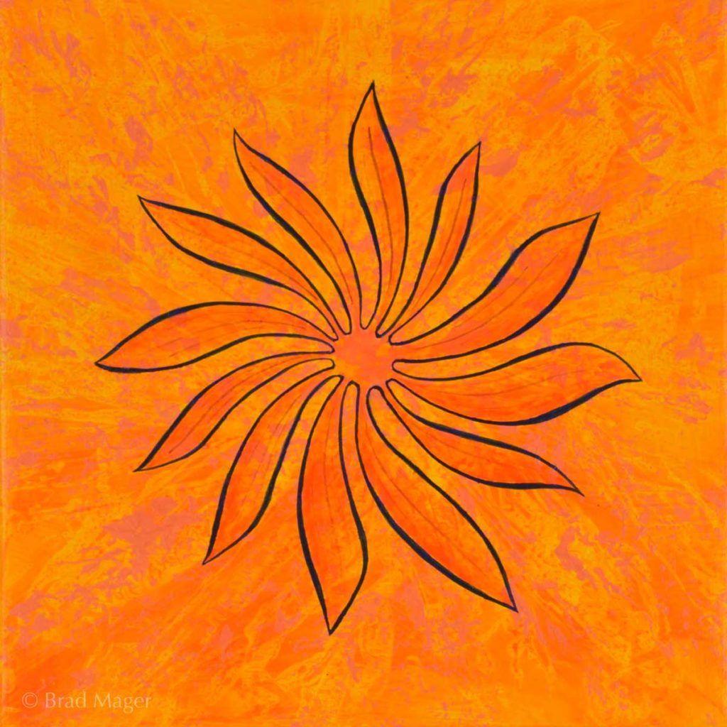 A yellow and orange flower with long curved petals swirls against a vortex-like background