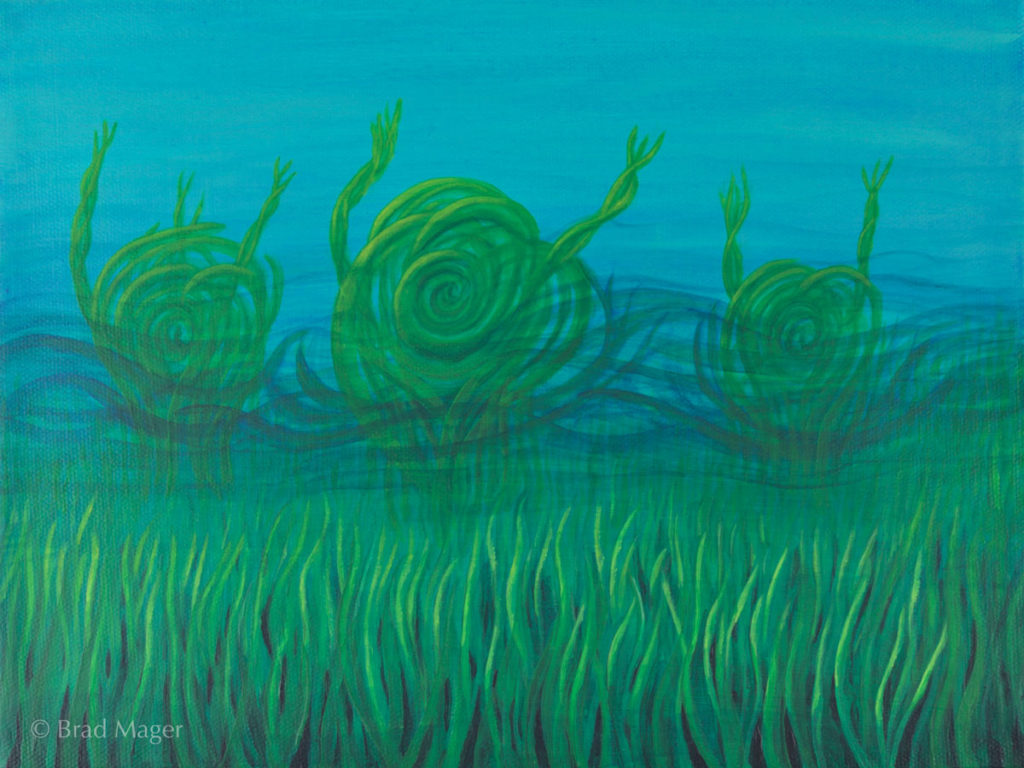 Three swirling green creatures arise out of lakeweed, reaching out menacingly with their tentacles