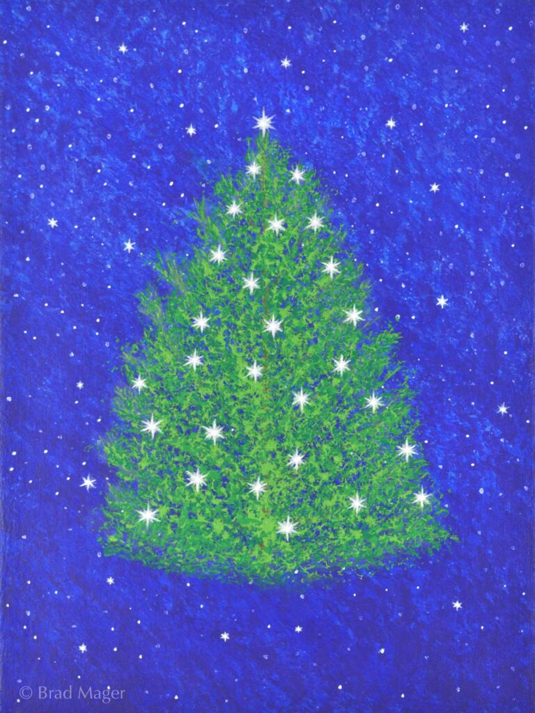 A bright green pine tree adorned with starry lights floats dreamlike in a nighttime sky
